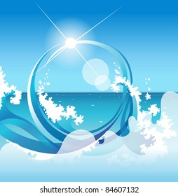 abstract background with sea surf on background epidemic and sun