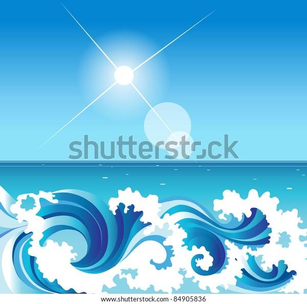 Abstract Background Sea Waves Near Coast Stock Vector