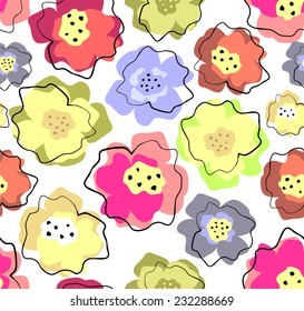 Abstract background with seamless floral pattern