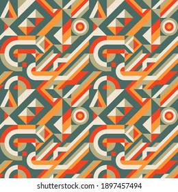 Abstract background seamless pattern design. Decorative ornament mosaic. Geometric shapes. Block chain concept banner. Vector illustration.
