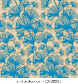 Abstract background seamless pattern ginkgo biloba leaves, vector