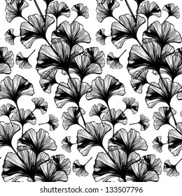 Abstract background seamless pattern ginkgo biloba leaves, vector, black and white