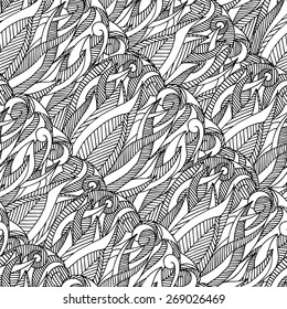 Abstract background seamless pattern with intertwining plant elements.