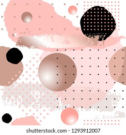 Abstract background. Seamless pattern. Rose, pink, black, gray spots, rose gold brush stroke, 3d balls and dots on a white background.