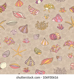 Abstract background with seashells, starfish and algae. Concept of seaside, resort, vacation, diving. Texture for print, wallpaper, textile, cover.