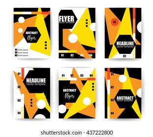 Abstract Background Set. Geometric Lines and Shapes for Flyers,Brochures, Vouchers, Leaflets, Presentations, Annual Reports, Business Cards,Document Cover Pages Design. A4 Size Title Sheet Template.