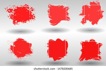 Abstract background set grunge texture. Brush shape red paint ink color with stroke over square frame