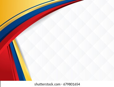 Abstract background with shapes with the colors of the flag of Ecuador, Colombia and Venezuela, to use as Diploma or Certificate