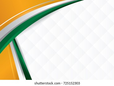 Abstract background with shapes with the colors of the flag of India, Ivory Coast, to use as Diploma or Certificate