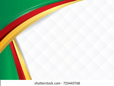 Abstract background with shapes with the colors of the flag of Cameroon, to use as Diploma or Certificate. Vector image