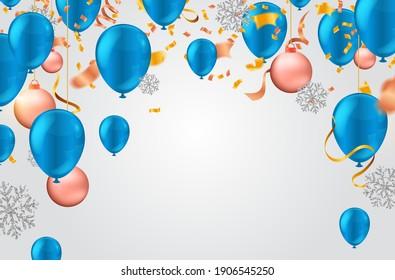 Arrière-Plan Abstrait avec Ballons Clair et Coloré. Anniversaire, Fête, présentation, vente et espace pour votre texte. Illustration vectorielle.