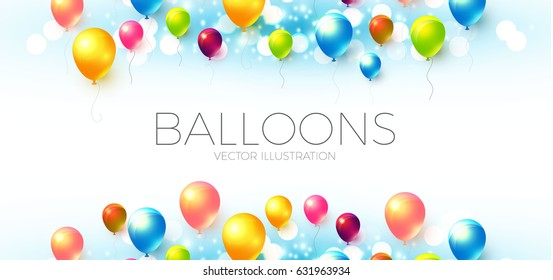 Abstract Background with Shining Colorful Balloons. Birthday, Party, Presentation, Sale, Anniversary and Club Design with Bokeh Elements, Happy Banner. Vector illustration
