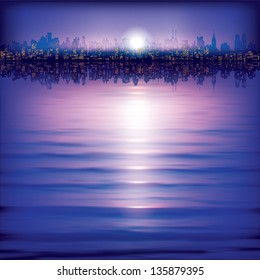 abstract background with silhouette of city and sunset