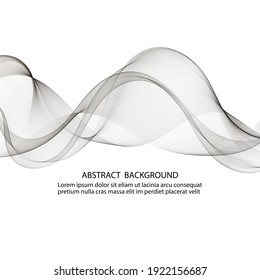 Abstract background silver lines transparent waves, design element