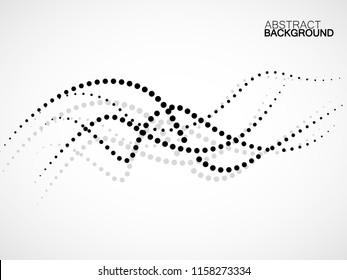 Abstract background of smooth dotted lines, halftone wave. Vector