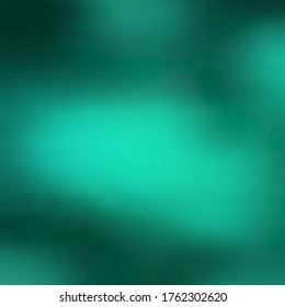 Abstract background, smooth gradient transition from dark bluish green to light turquoise large spots, blur. Great as a background for any print product, web page, advertisement or other design.