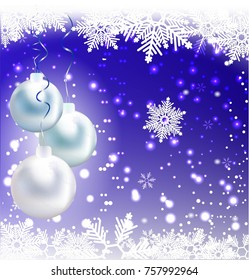 Abstract background with snow and balls