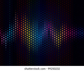 Abstract background of sound wave with speaker grille.