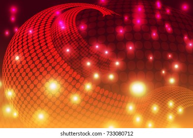 Abstract background with sparkles and sphere.