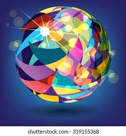 abstract background with a sphere of colorful triangles in the rays of light