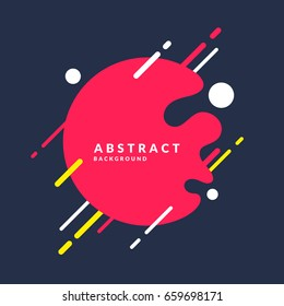 Abstract background with a splash, lines and round in a flat minimalist style. Bright vector illustration with frame for text