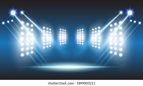 Abstract background stadium stage hall with scenic lights of round futuristic technology user interface Blue vector lighting empty stage spotlight background.