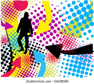 Abstract  background with standing man