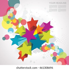Abstract background with stars. 3D Vector Design.