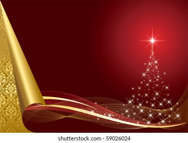 Abstract background, with stars and Christmas tree, illustration