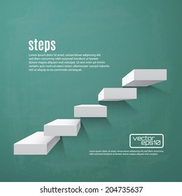Abstract background with steps 3d on green chalkboard. Vector illustration