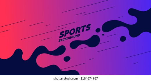 Abstract background with straight lines and splashes in minimalistic flat style. Bright vector illustration for sport