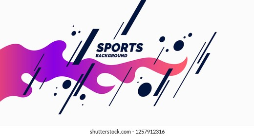 Abstract background with straight lines and splashes in minimalistic flat style. Bright sports illustration