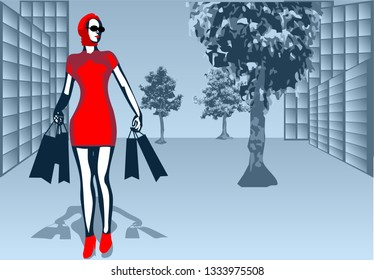 abstract background with street and woman in red dress