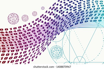 Abstract background with stripes or curves. Lines pattern. Backdrop for presentation. Algorithm binary, data code, decryption and encoding, row matrix.