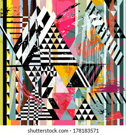 abstract background, with strokes, splashes, stripes and triangles