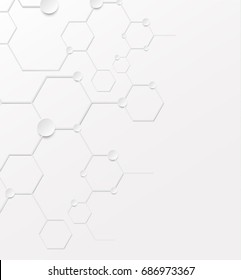 Abstract background structure DNA bio molecules on white background. Chemical bond background for banner, flyer or web. Molecular structure with white paper particles Vector illustration. EPS 10.