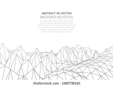 Abstract background in the style of low poly design. 3D landscape in virtual reality. Stock vector illustration.