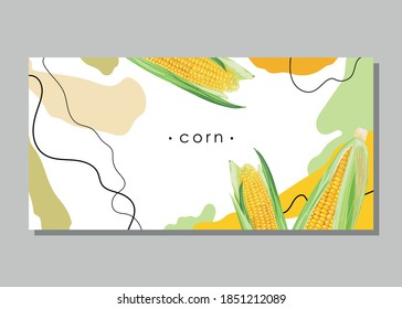 Abstract background. Stylized yellow corn with leaves. Organic sweet corn. Banner, poster, sticker, label, logo, print, modern textile design. Vector illustration.