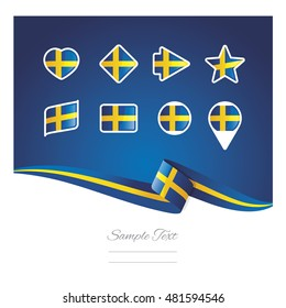 Abstract background Sweden flag ribbon icon set vector