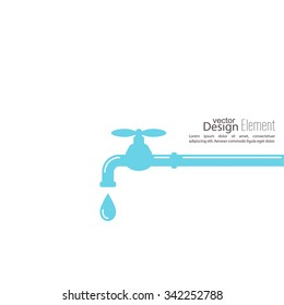 Abstract background with tap water drop. Flat design.