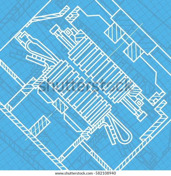 Abstract background with technical blueprint of mechanics. Engineering illustration.