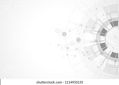 Abstract background with technology circuit board texture. Futuristic digital circle. Communication and engineering concept. Innovation technology concept design wave flow. Vector illustration.