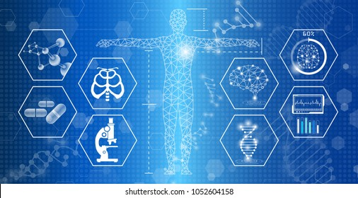 Abstract background technology concept in blue light, human body heal, tests analysis clone defective DNA, global international medical and technology modern medical science in future.