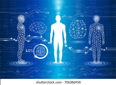 abstract background technology concept in blue light,human body heal,technology modern medical science in future and global international medical with tests analysis clone DNA human