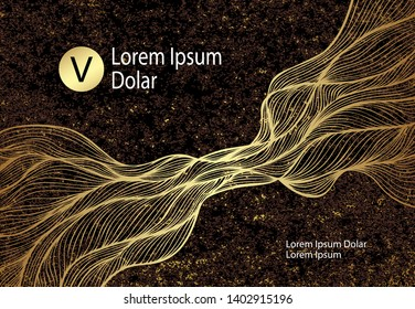 Abstract Background or template flyer banner or visit card with Wave or Smoke or folds in gold black and with stone texture