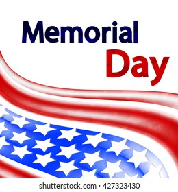 Abstract background with text, Memorial Day, 30th of May design for holidays, vector illustration
