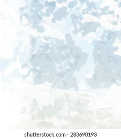 Abstract background texture with blue strokes of paint. Painted paper background for use as a background or design element. Abstract representations of blue sky, clouds or water.