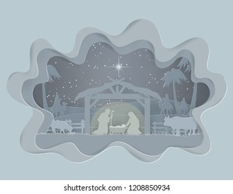 Abstract background Traditional Christmas Nativity Scene of baby Jesus in winter season background, paper art style