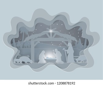 Abstract background Traditional Christmas Nativity Scene of baby Jesus in winter season background, paper art style vector