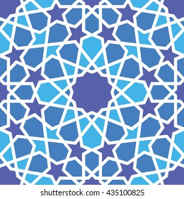 Abstract background with traditional ornament. Vector illustration. Seamless pattern. Arabic, Uzbekistan, Oriental, Eastern floor and wall tile. Pattern. Blue purple